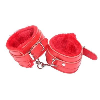 SEDUCTIVE SERIES LEATHER HANDCUFFS-RED