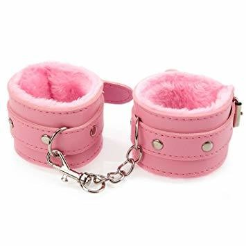 SEDUCTIVE SERIES LEATHER HANDCUFFS-PINK