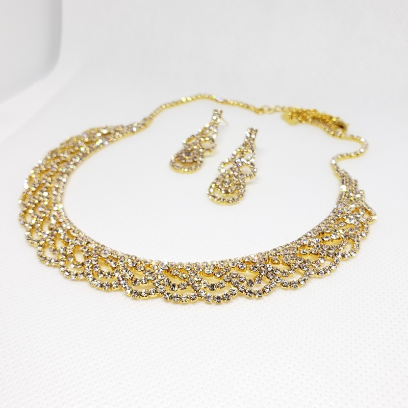 Bridal Statement Crystal Collar Necklace - MORGANA