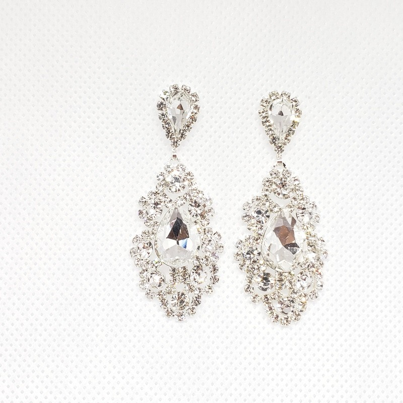 Earrings Crystals White Gold