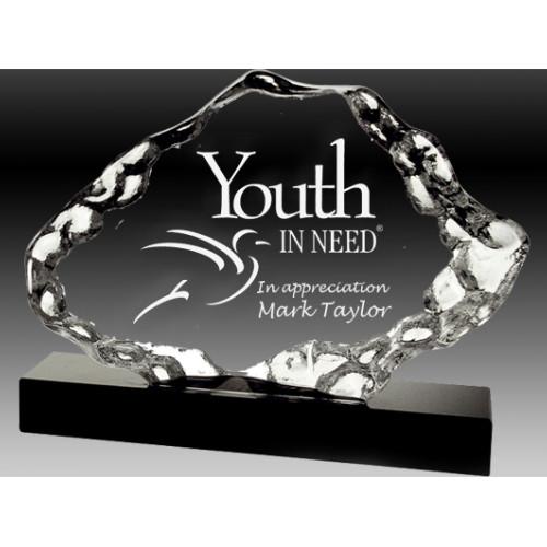 Natural Shape Optical Crystal on Black Crystal Base Trophy – OCAIB1