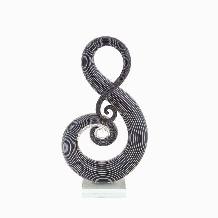 Glass Art Treble Clef Black and White Sculpture by Zibo