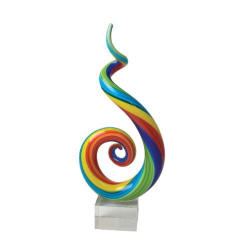 Glass Art Spectrum Spiral Sculpture by Zibo