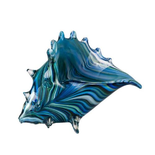 Glass Art Blue Triton Shell by Zibo