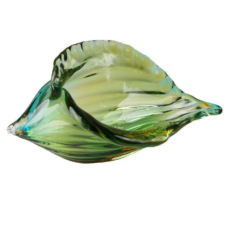 Glass Art Green Harp Shell by Zibo