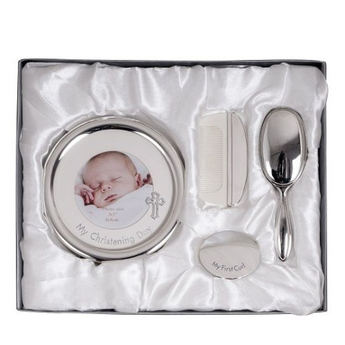 Engraved Silver Christening Day Gift Set - Frame, Brush, Comb and Curl Box