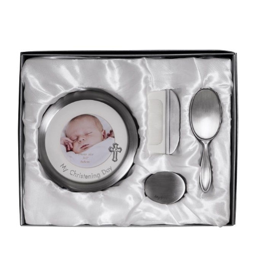 Engraved Pewter Christening Day Gift Set - Frame, Brush, Comb and Curl Box
