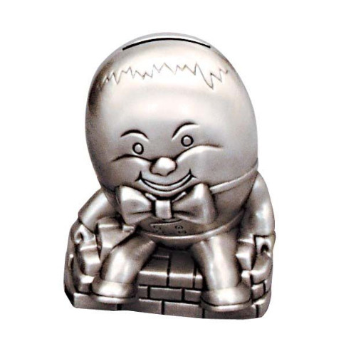Engraved Humpty Dumpty Pewter Money Box