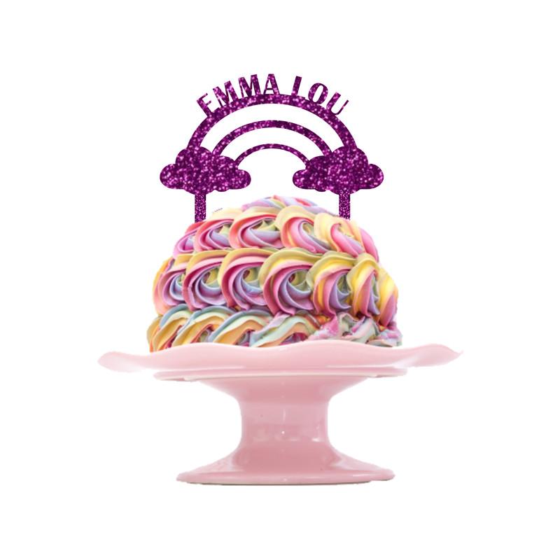 Children's Birthday Cake Topper Design 5 - Rainbow