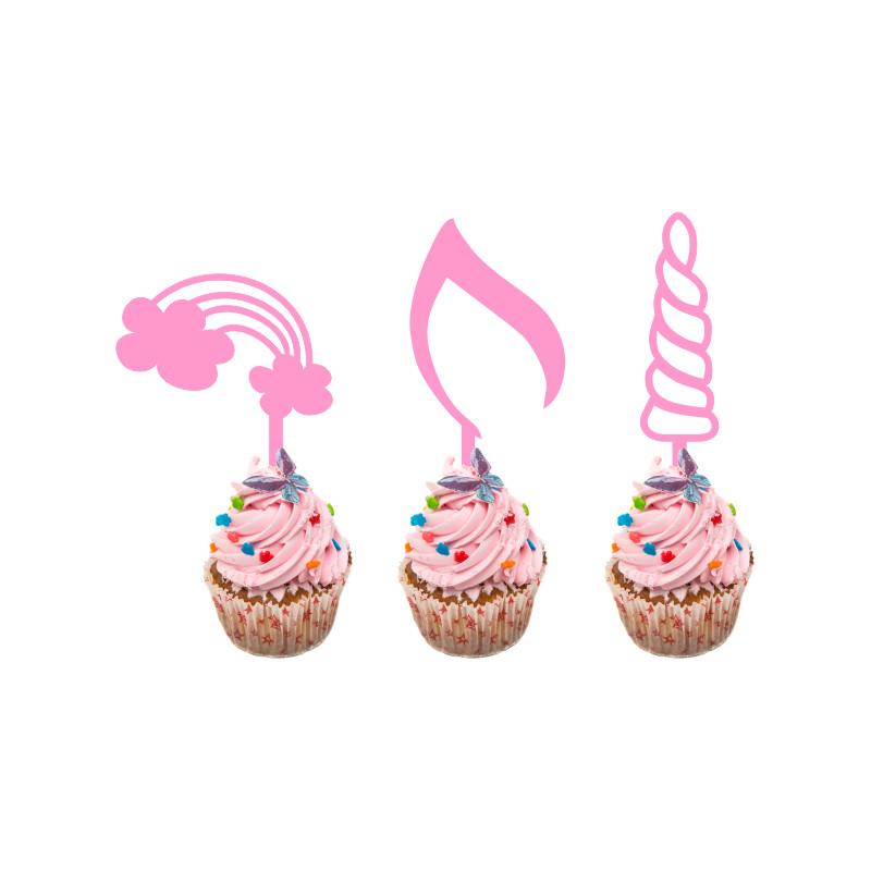 Children's Birthday Cup Cake Toppers Set Design 1 - 12 x Unicorns