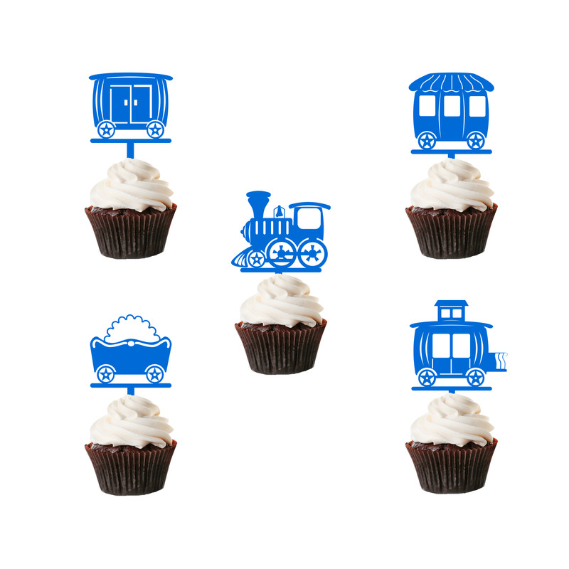 Children's Birthday Cup Cake Toppers Set Design 2 - 10 x Trains