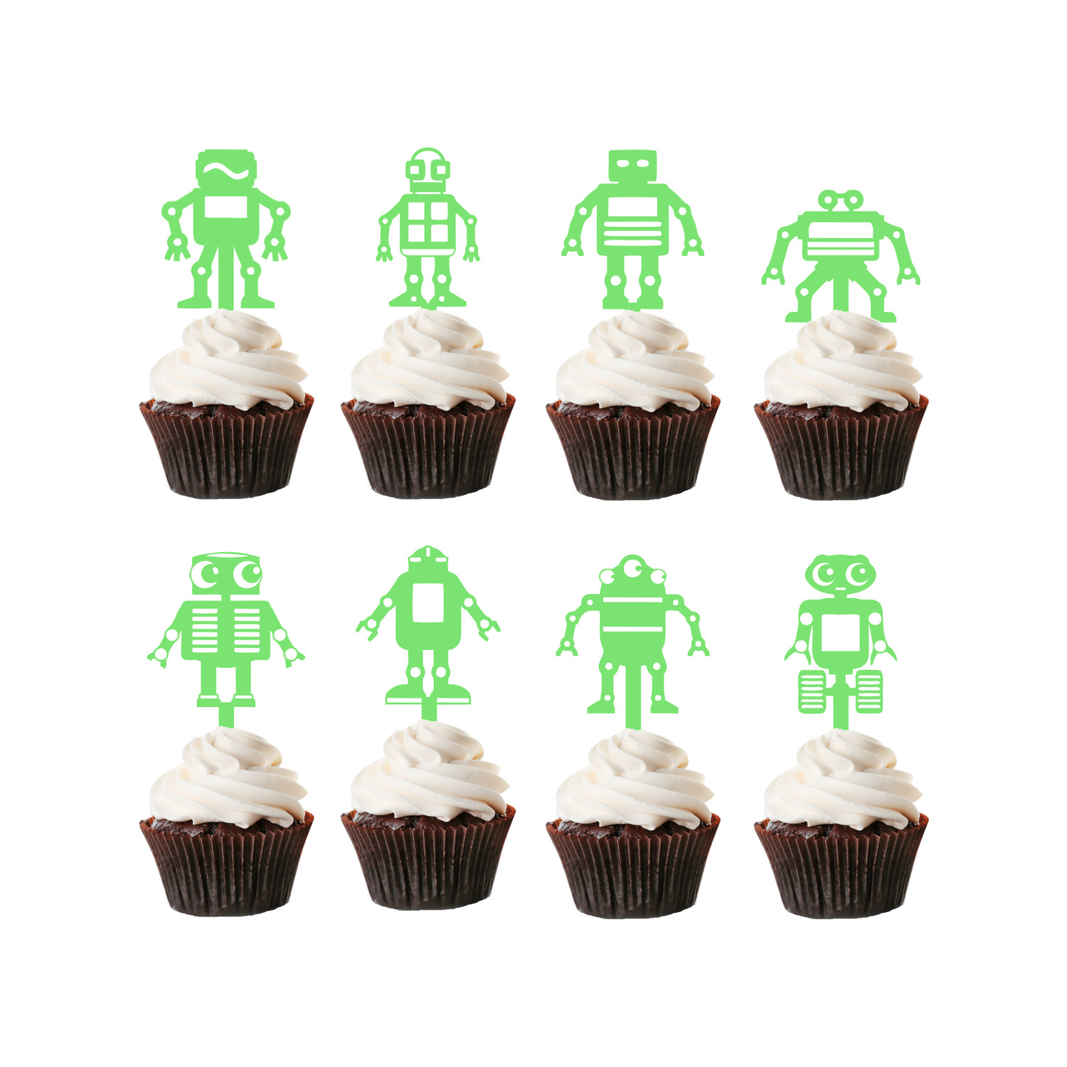 Children's Birthday Cup Cake Toppers Set Design 3 - 8 x Robots