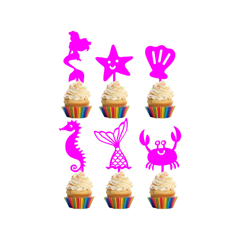 Children's Birthday Cup Cake Toppers Set Design 4 - 6 x Mermaid