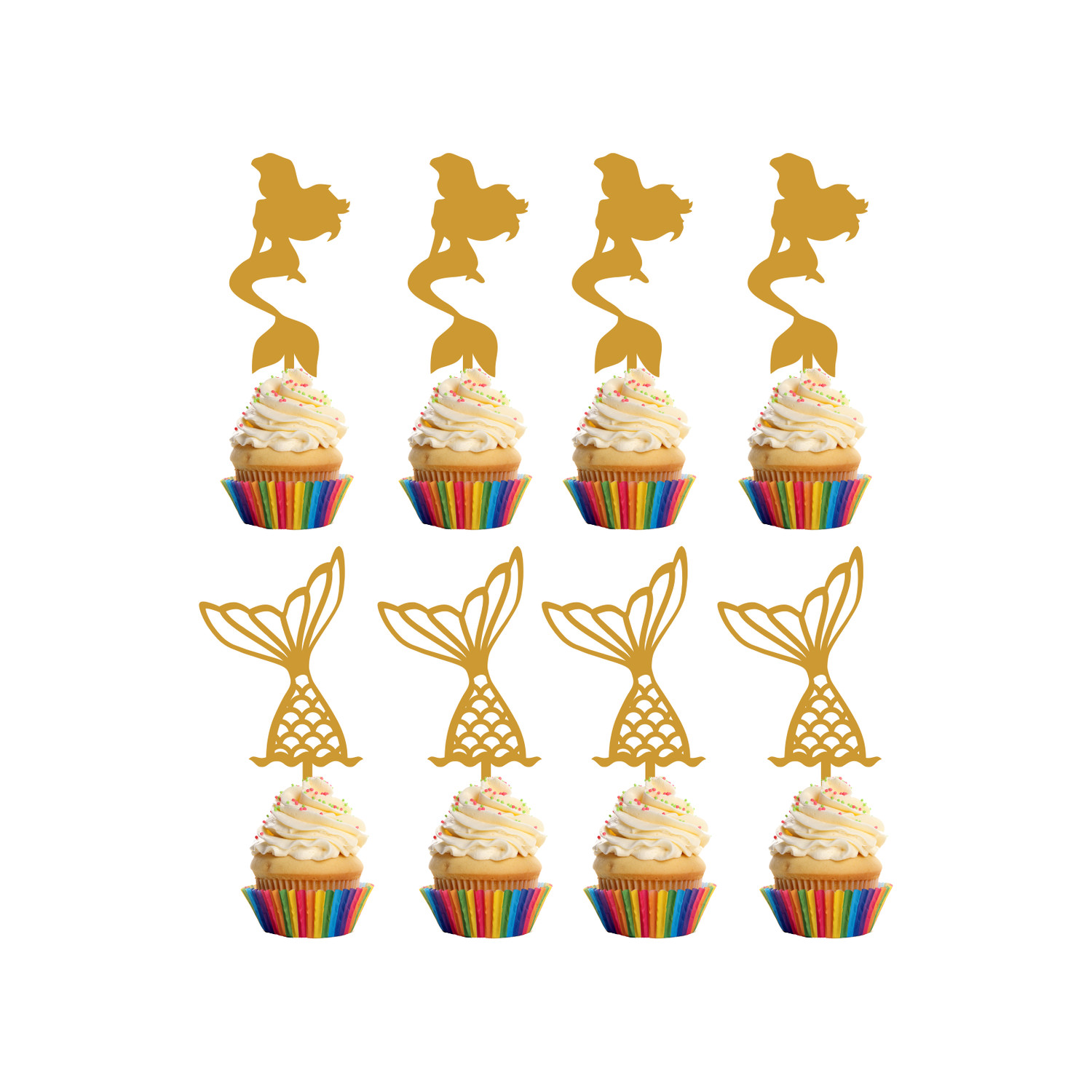 Children's Birthday Cup Cake Toppers Set Design 4 - 8 x Mermaid