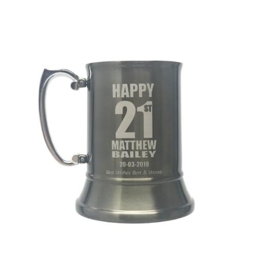 Gun Metal Stainless Steel Beer Mug 450mls