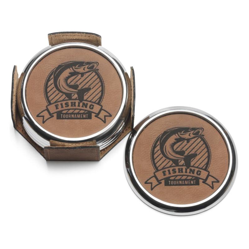 Leatherette Coaster Set LE201