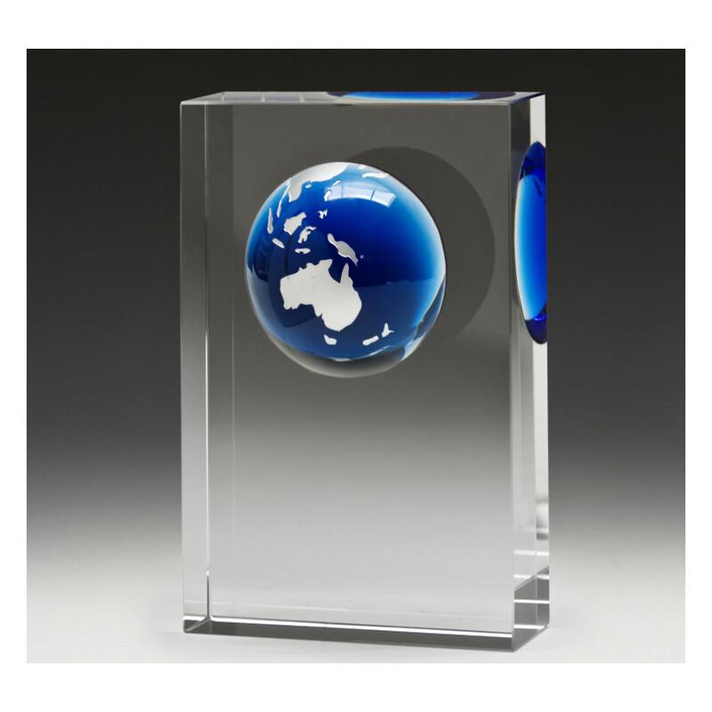 Blue Globe Crystal Block