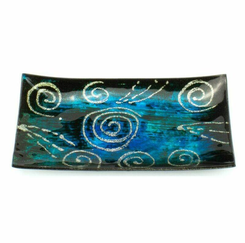 Blue Galaxy Glass Plate