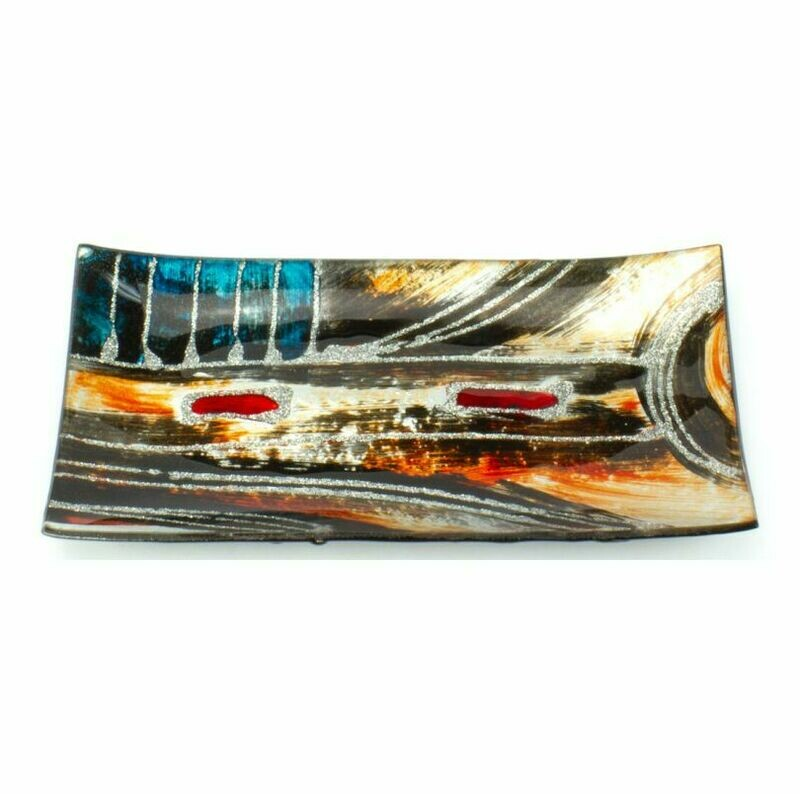 Earthy Abstract Glass Plate