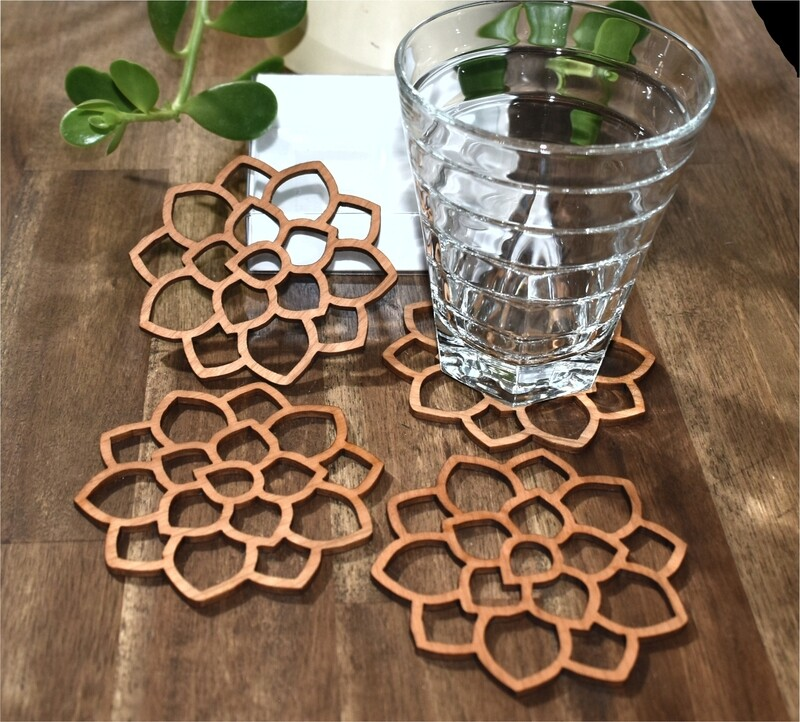 Flower Timber Coasters