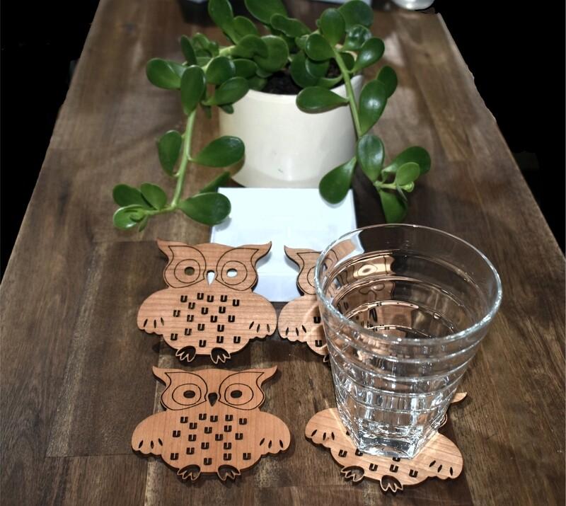 Owl Timber Coasters