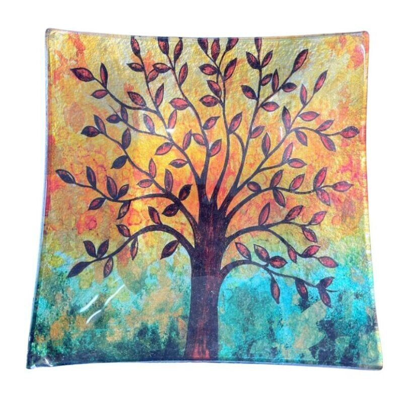 Winter Tree Glass Plate