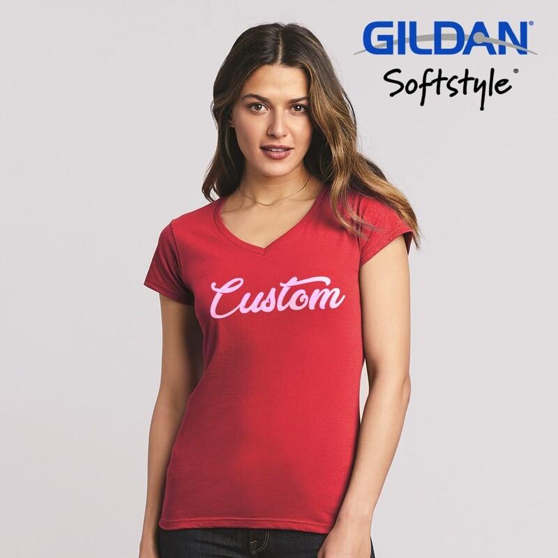GILDAN SOFTSTYLE 63V00L Ladies V-Neck T-Shirt DTG Print