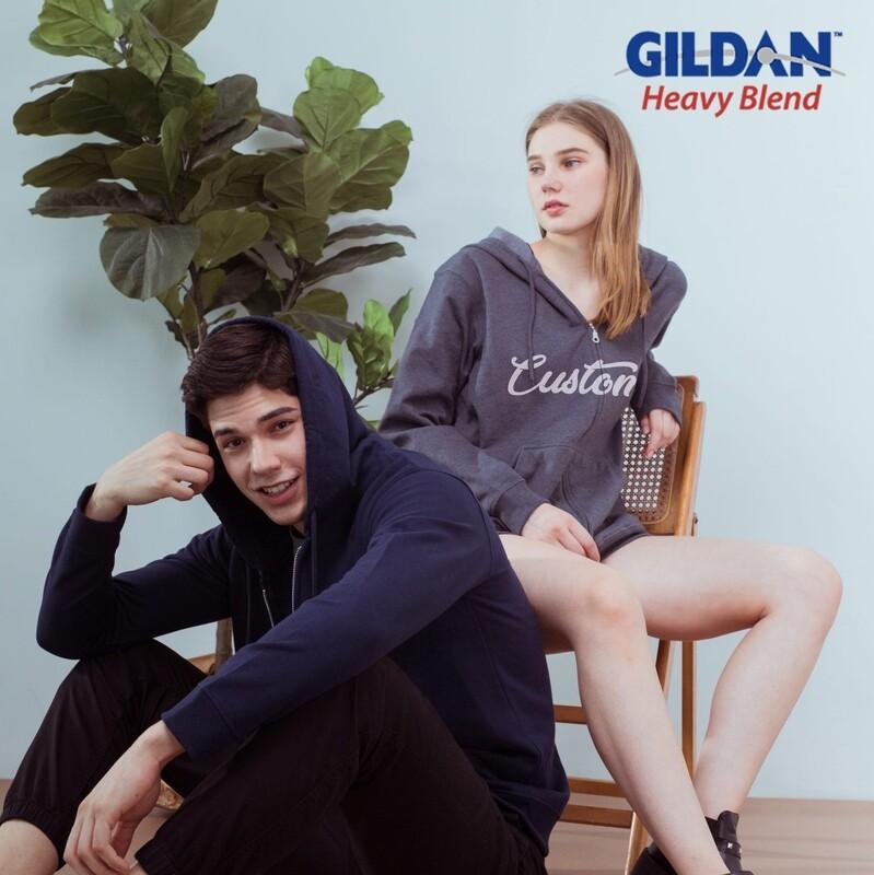 GILDAN HEAVY BLEND 88600 Adult Full Zip Hooded Sweatshirt HD Print