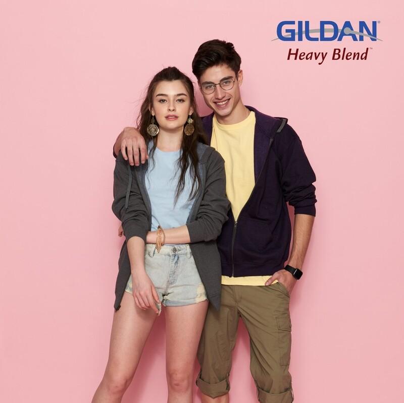 GILDAN HEAVY BLEND 18700 Adult Vintage Full Zip Hooded Sweatshirt HD Print