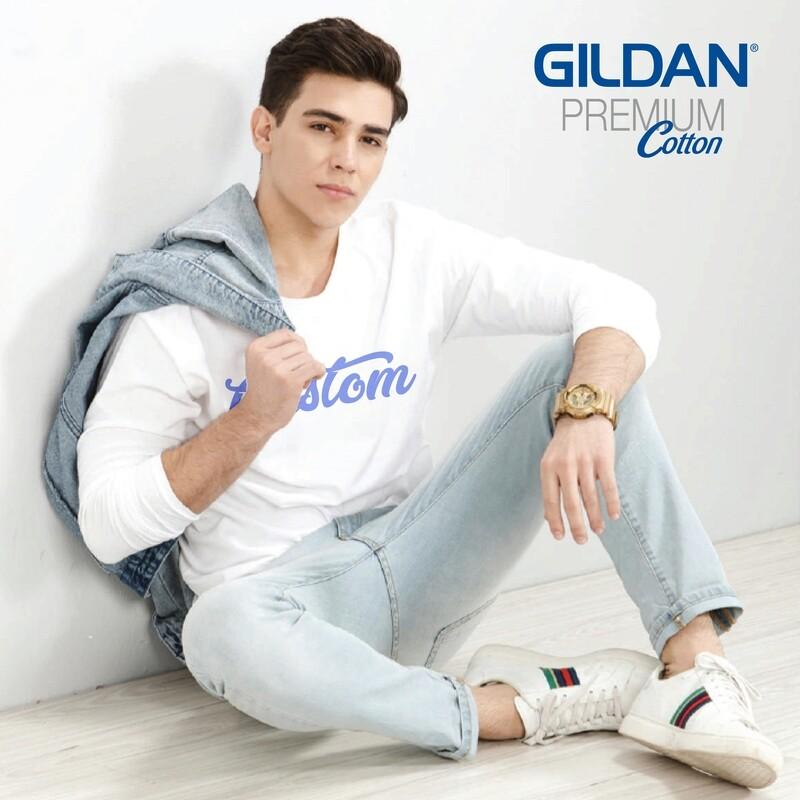 GILDAN PREMIUM COTTON 76400 Adult Long Sleeve T-Shirt DTG Print