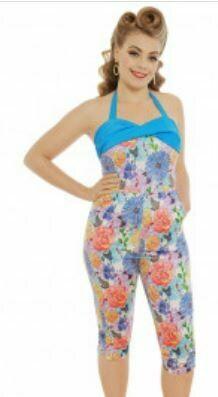 Heloise' Blue Floral Print Jumpsuit