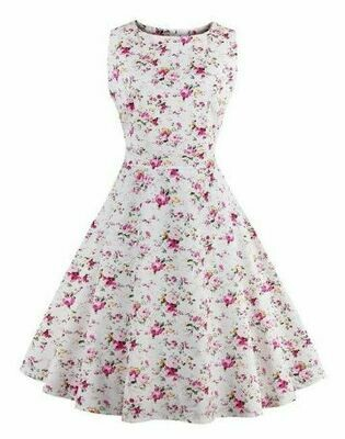 Vintage Tea Dress Floral  Lge