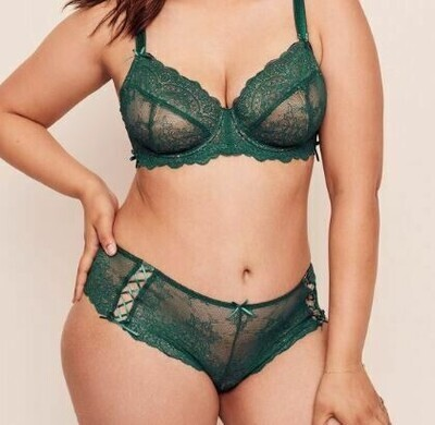 Loretta Unlined Bra & Knickers - Size 40H Bust 127cm