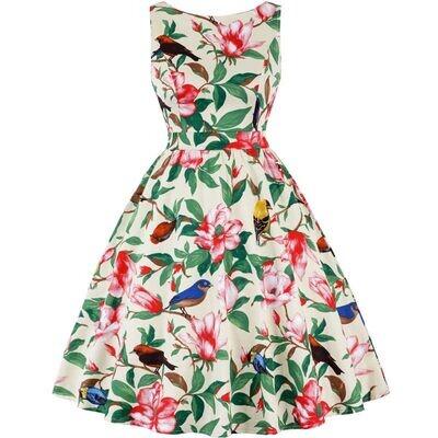 Rockabilly Vintage Retro Birds & Floral Flared Dress Size 16