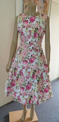 Floral Summer Hepburn Style Retro Dress Size 14