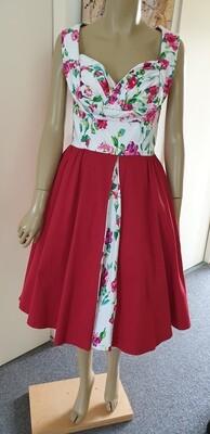 Lindy Bop Maroon & Floral Tea Dress Size 12