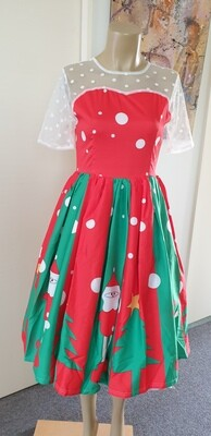 Xmas Red & Green Panel Dress Size 10