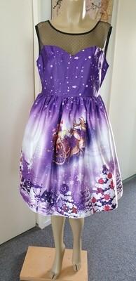 Xmas Purple & Black Mesh Sled print dress  Size 14