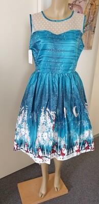 Xmas Teal  Santa Village Dress Size 14