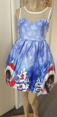 Xmas Lavender Cat in a Hat  Dress Size XS