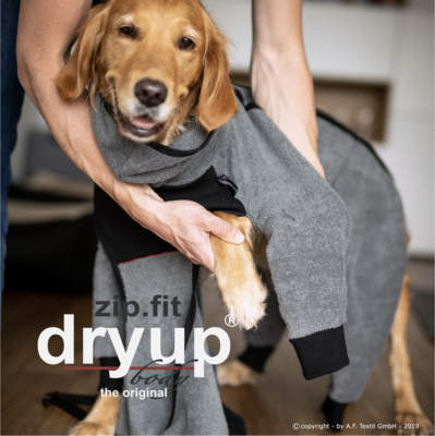 DRYUP BODY ZIP.FIT BORDEAUX oder ANTHRAZIT - Hundebademantel