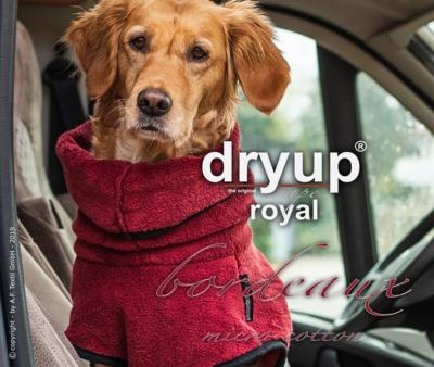 Dry Up CAPE ROYAL SILVER oder BORDEAUX Hundebademantel aus micro cotton