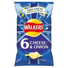 Walkers Cheese & Onion 6pk