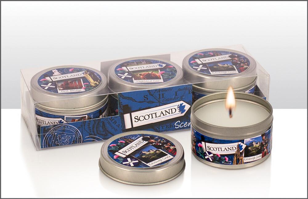 Scotland Vanilla Scented Candles Set Of 3