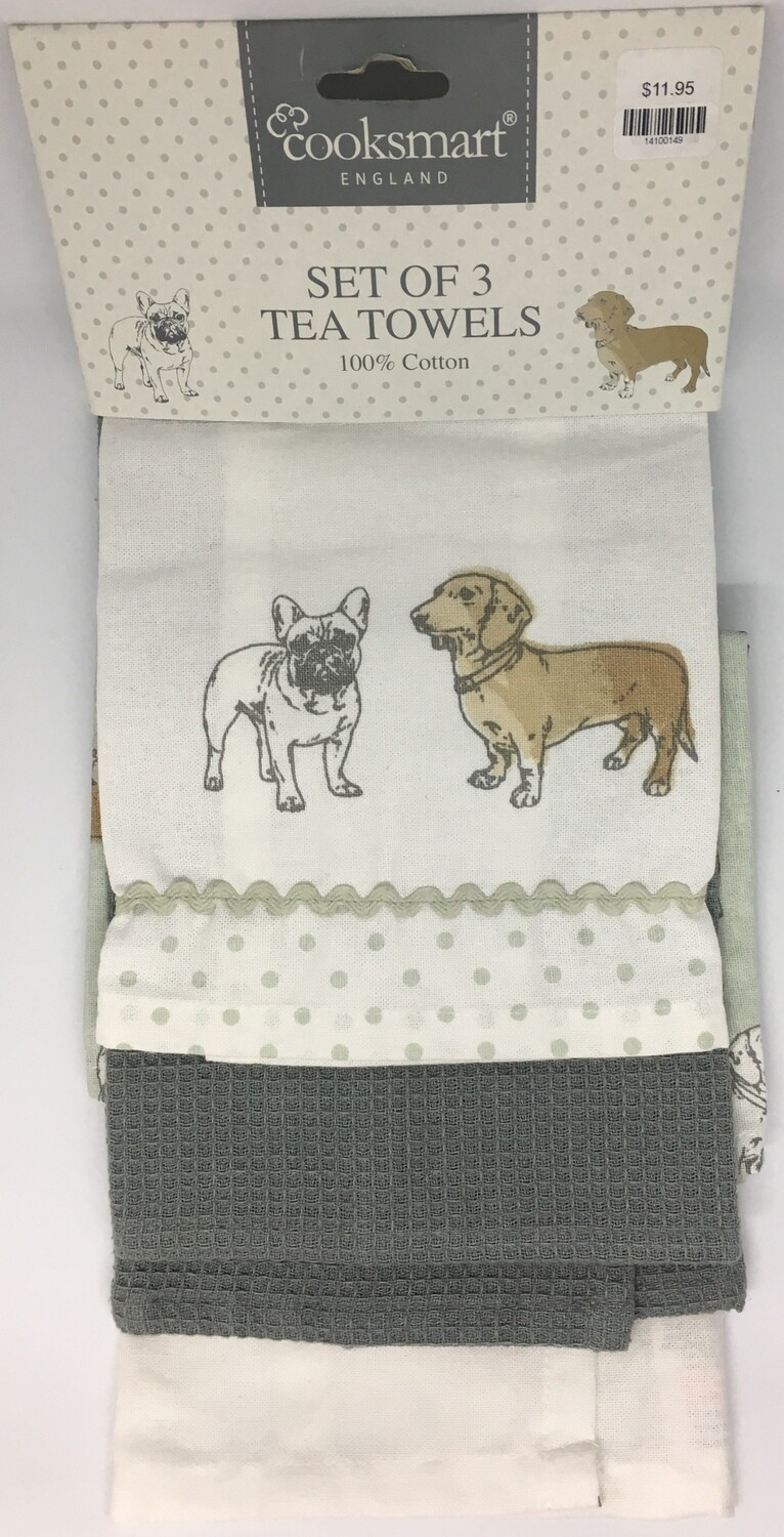 Cooksmart Pedigree Set Of 3 Tea Towels