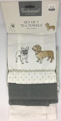 Cooksmart Pedigree Set Of 3 Tea Towels