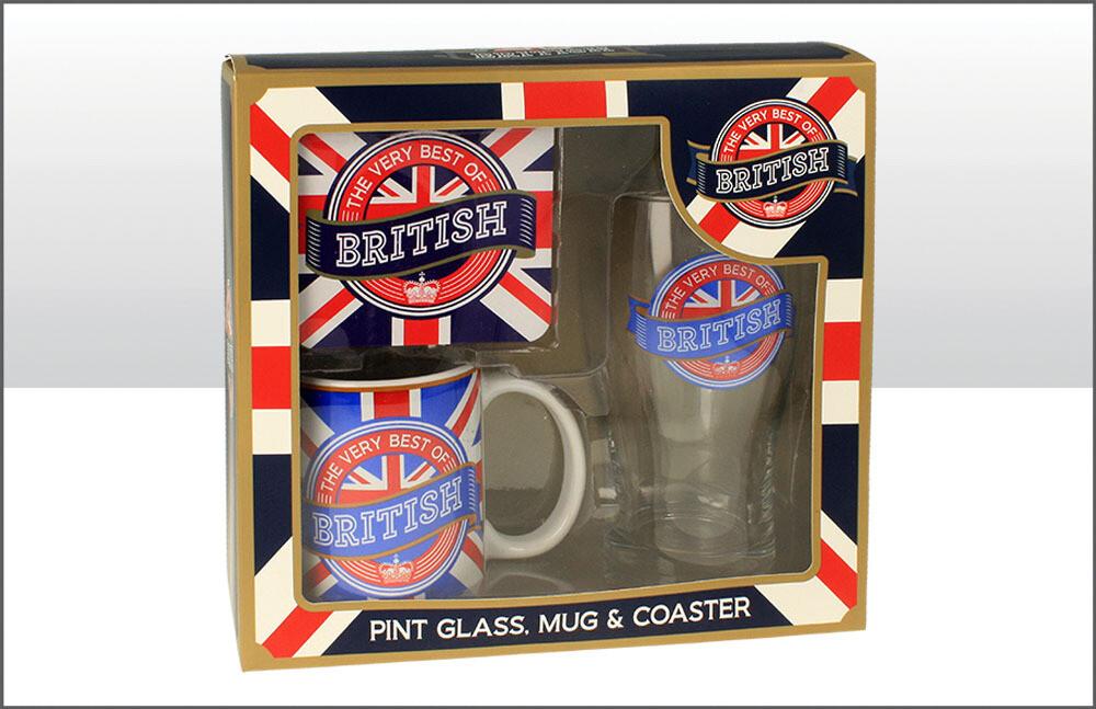 British Pint Glass Coaster Mug Set