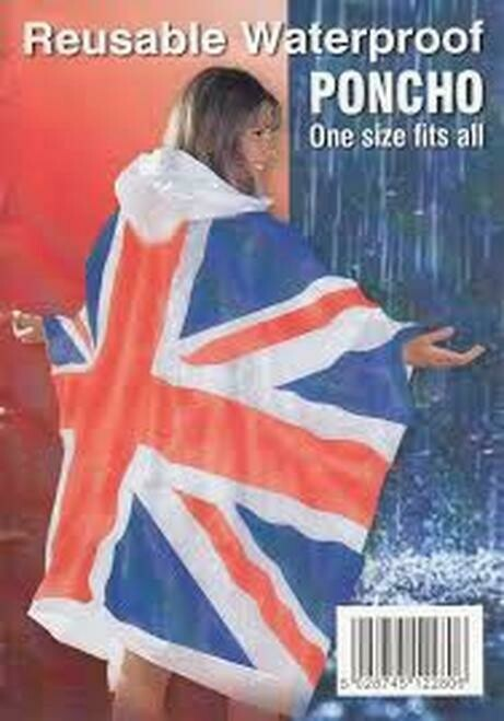 Union Jack Reusable Waterproof Poncho One Size Fits All