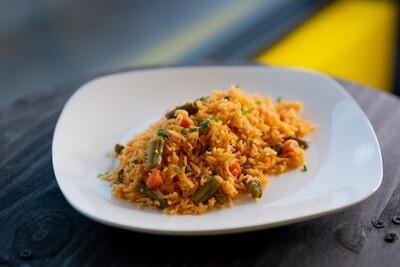 Jollof rice with Veggies and Mushrooms