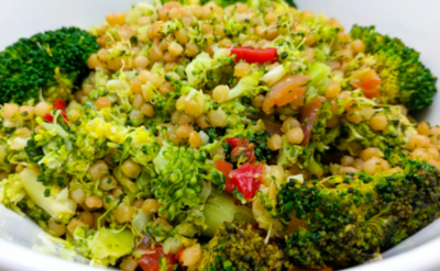 Sweet and spicy oven grilled barbecue broccoli with chives couscous.